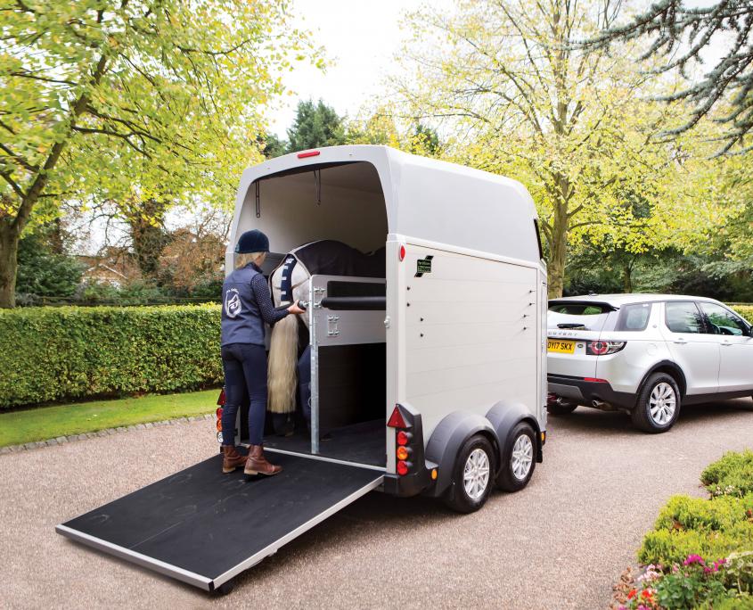 Horsebox_HBE_Silver_8 spoke alloy wheels_high level brake light_Rear Ramp Open_Loaded_driveway