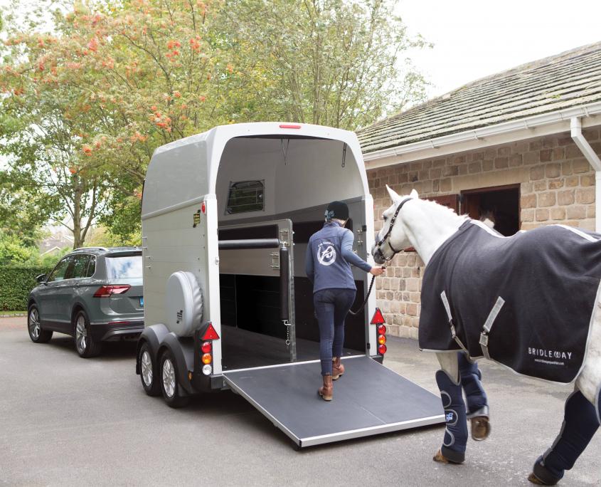 Horsebox_HBE_Silver_8 spoke alloy wheels_high level brake light_Rear Ramp Open_Loading_stable yard